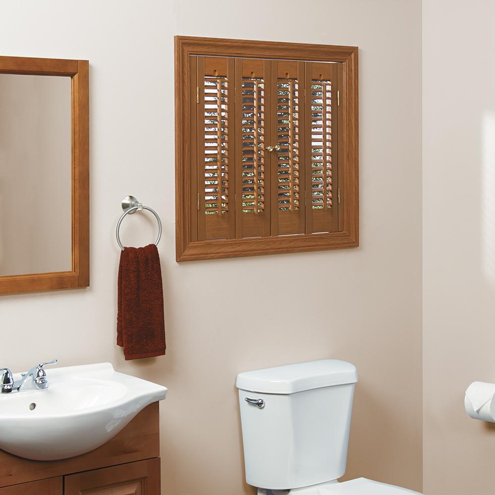 Oak 1-1/4 in. Traditional Faux Wood Interior Shutter 29 to 31 in. W x 36 in. L