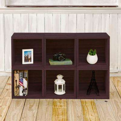 Barcelona 6 Cubes zBoard  Stackable Modular Storage Cubby Organizer, Tool-Free Assembly Storage in Espresso