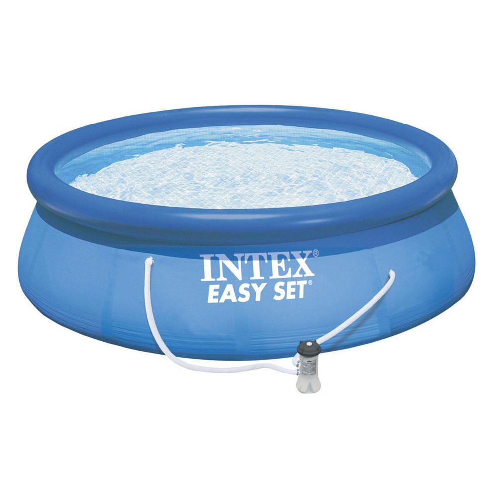 Intex Easy Set 15 ft. Round x 33 in. Deep Inflatable Pool with 530 ...