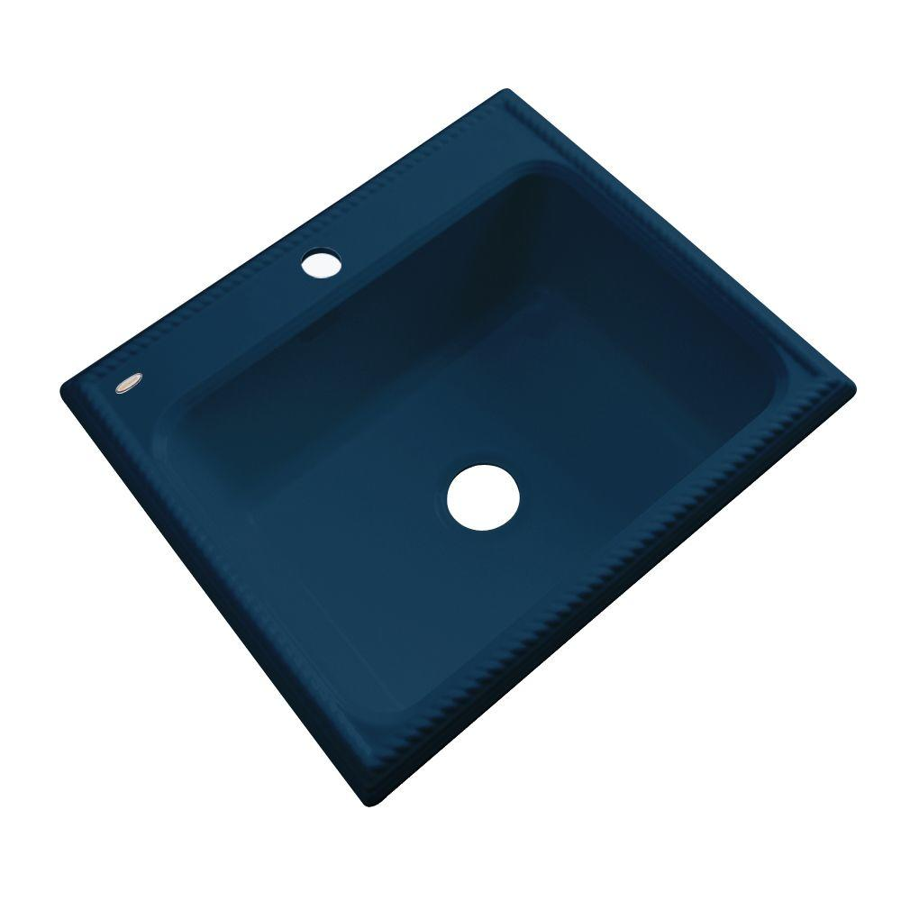 Thermocast Wentworth Drop-In Acrylic 25 in. 1-Hole Single Basin Kitchen Sink in Navy Blue