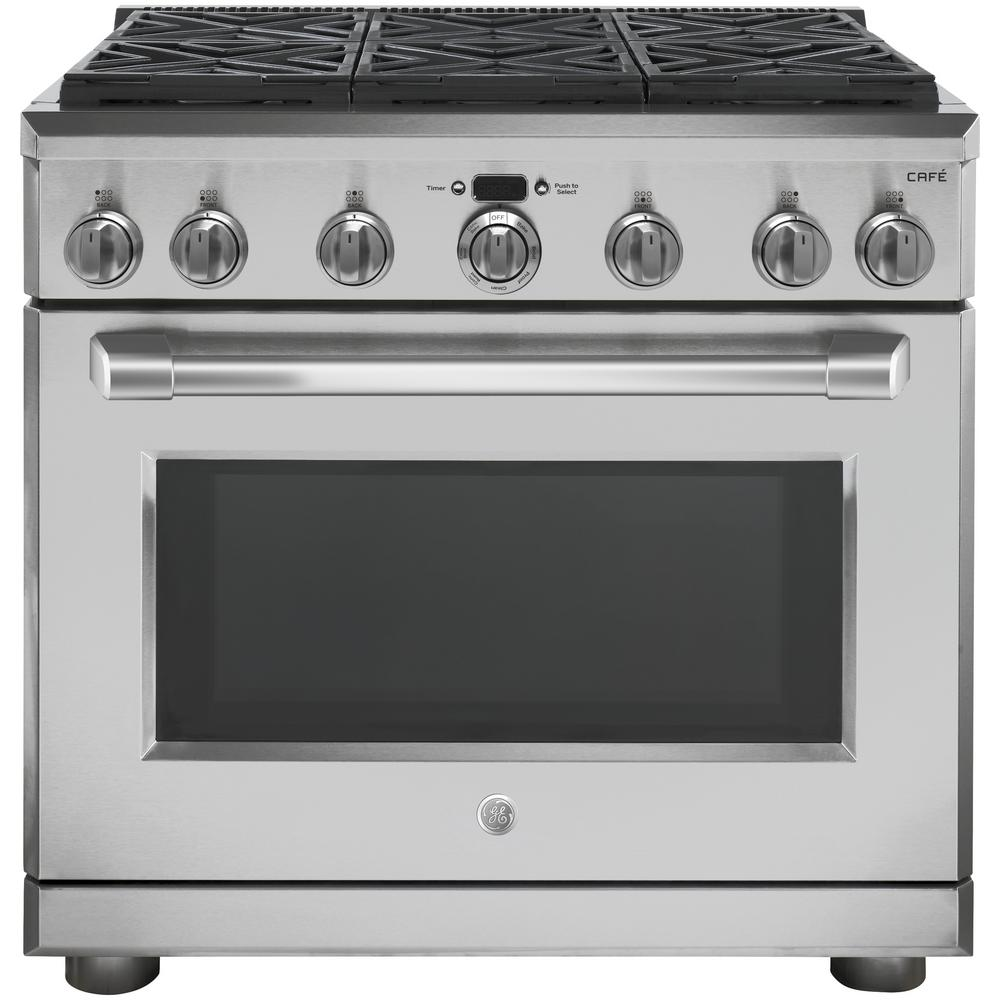 Cafe 36 in. 5.75 cu. ft. Dual Fuel Range with Self-Cleaning