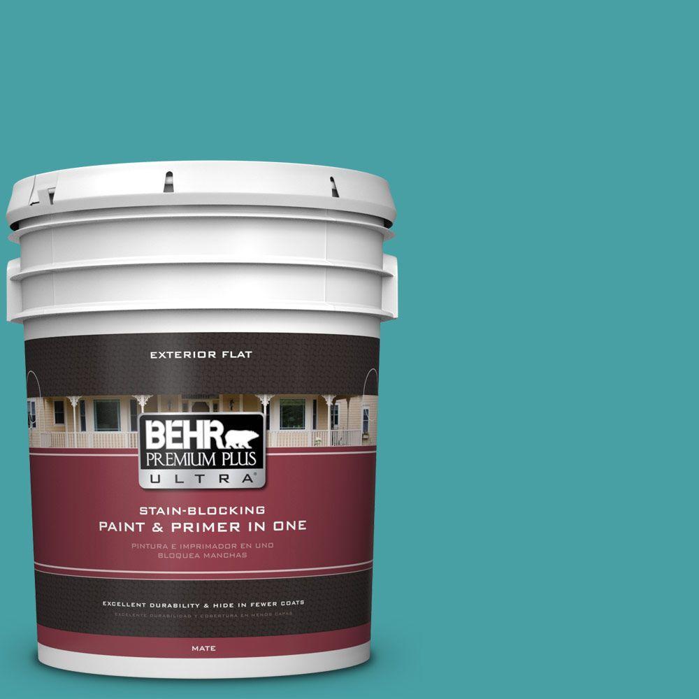 BEHR Premium Plus Ultra 5-gal. #M460-5 Aqua Fresco Flat Exterior Paint