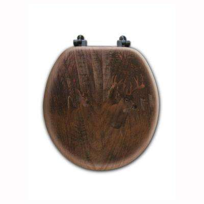 Play the Wind Round Closed Front Wood Toilet Seat in Oak Brown