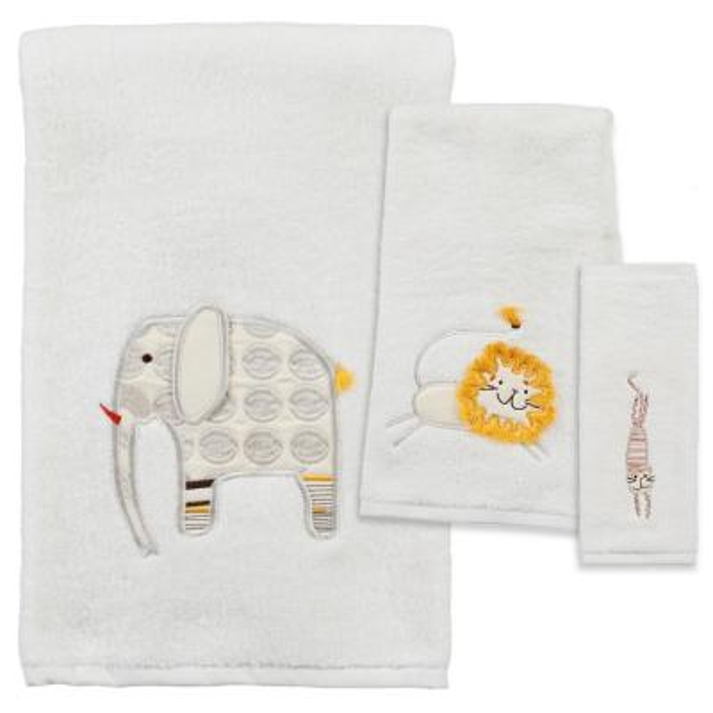 Animal Crackers 3-Piece 100% Cotton Jacquard Bath Towel Set in White