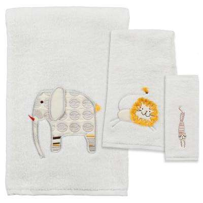 Animal Crackers 3-Piece 100% Cotton Jacquard Bath Towel Set in White