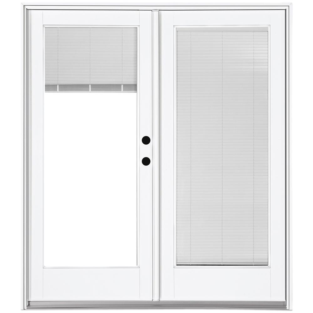 MP Doors 72 in. x 80 in. Fiberglass Smooth White Left-Hand Inswing Hinged Patio Door with Built in Blinds