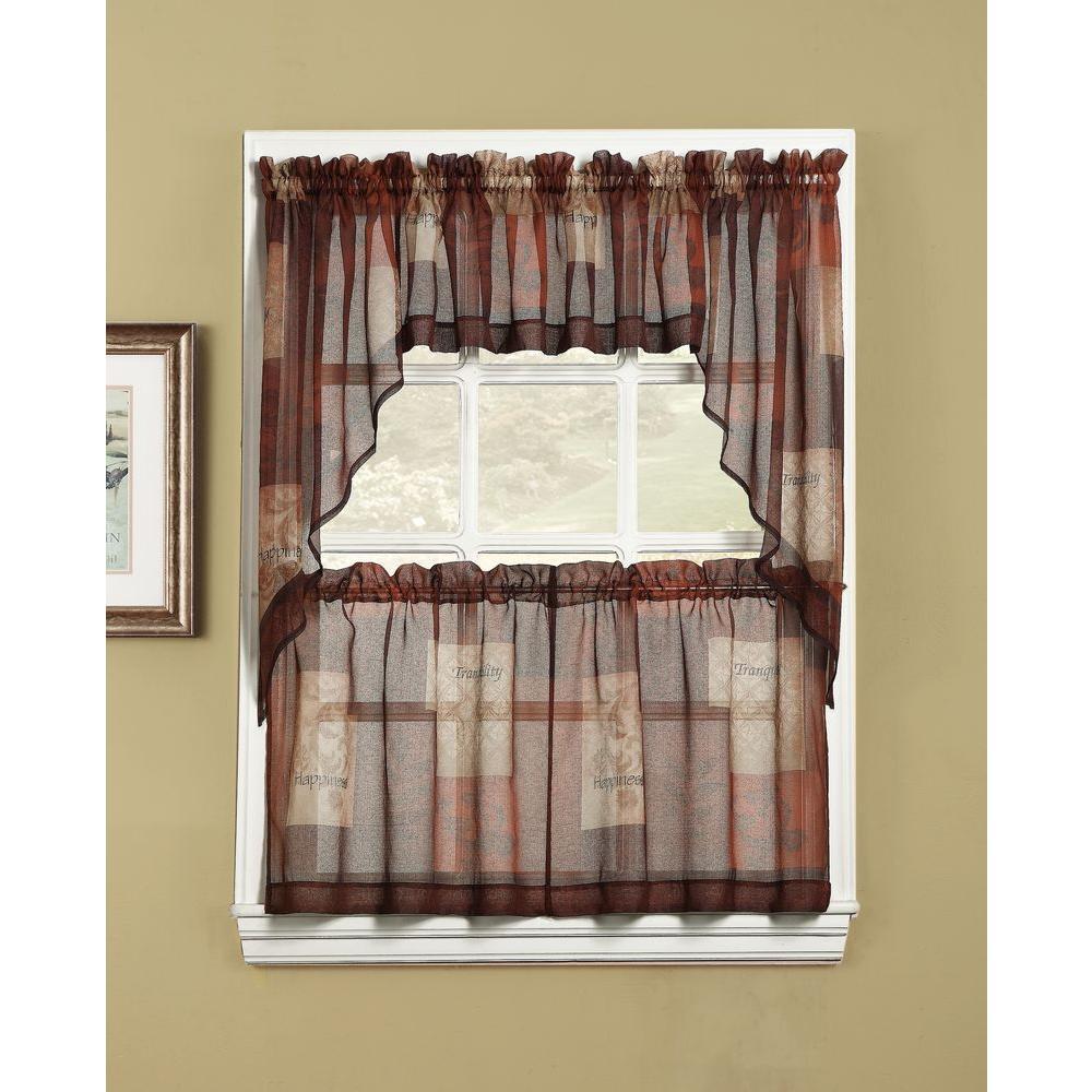 LICHTENBERG Sheer Multi Eden Printed Textured Sheer Kitchen Curtain Swags,  56 in. W x 36 in. L