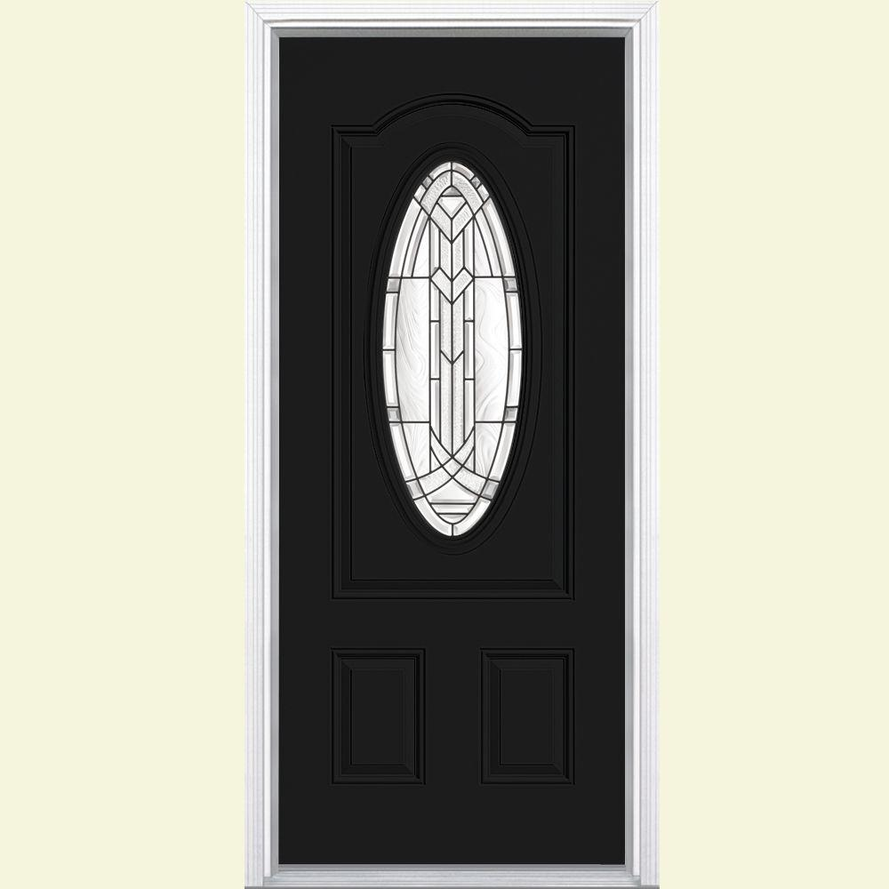 Masonite 36 in. x 80 in. Chatham 3/4 Oval Right-Hand Painted Smooth Fiberglass Prehung Front Door w/ Brickmold, Vinyl Frame
