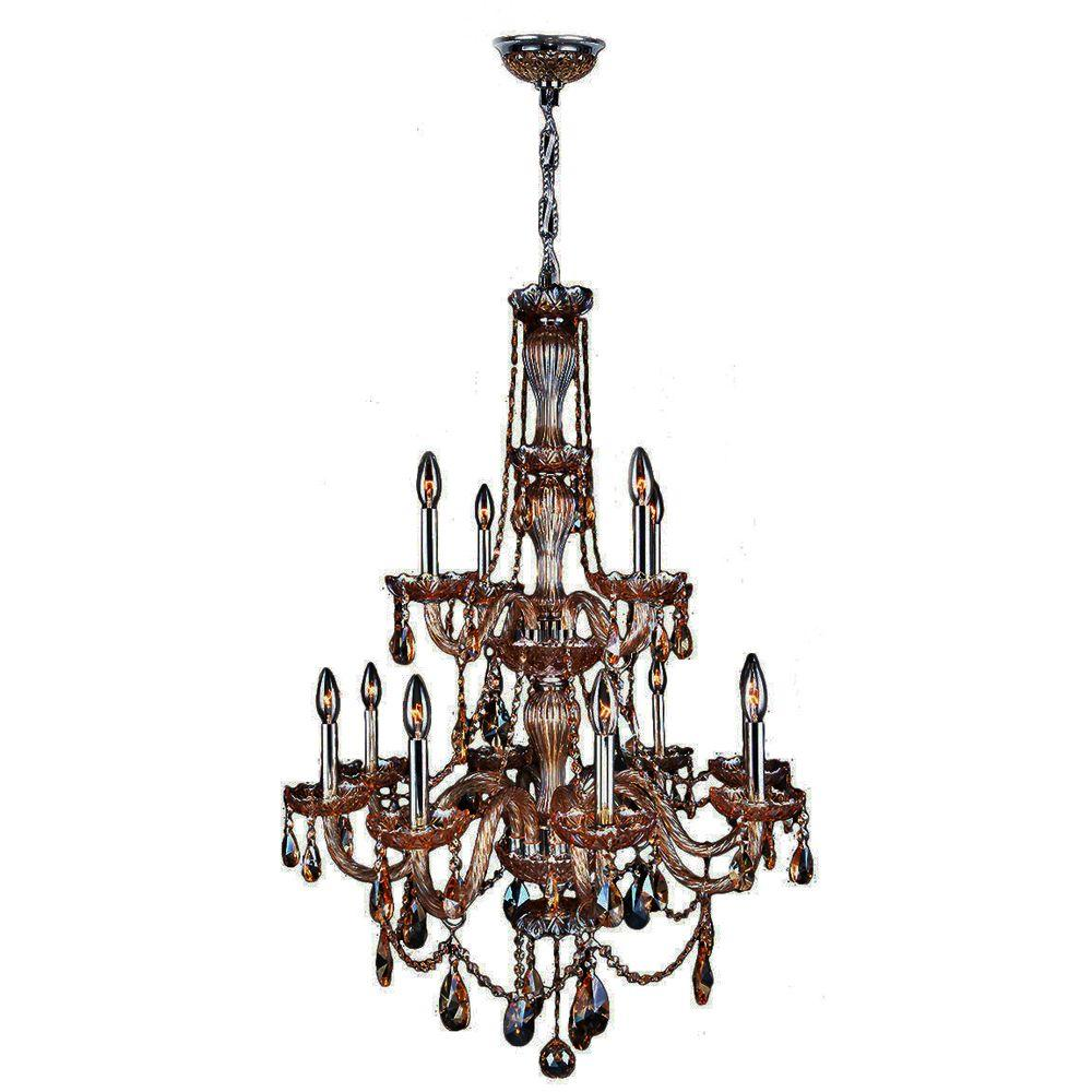 null Provence Collection 12-Light Polished Chrome and Amber Crystal Chandelier