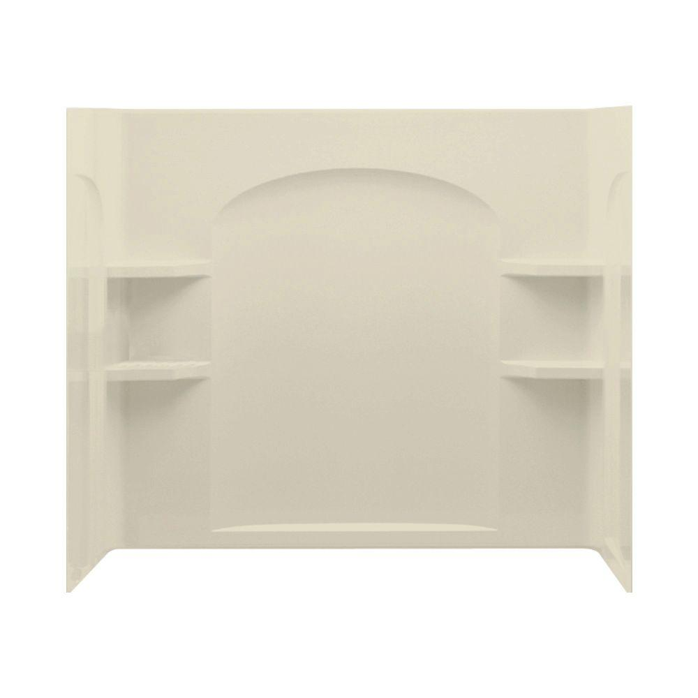 STERLING Ensemble 33-1/4 in. x 60 in. x 55-1/4 in. Three Piece Direct-to-Stud Shower Wall Set Backer in Almond-DISCONTINUED