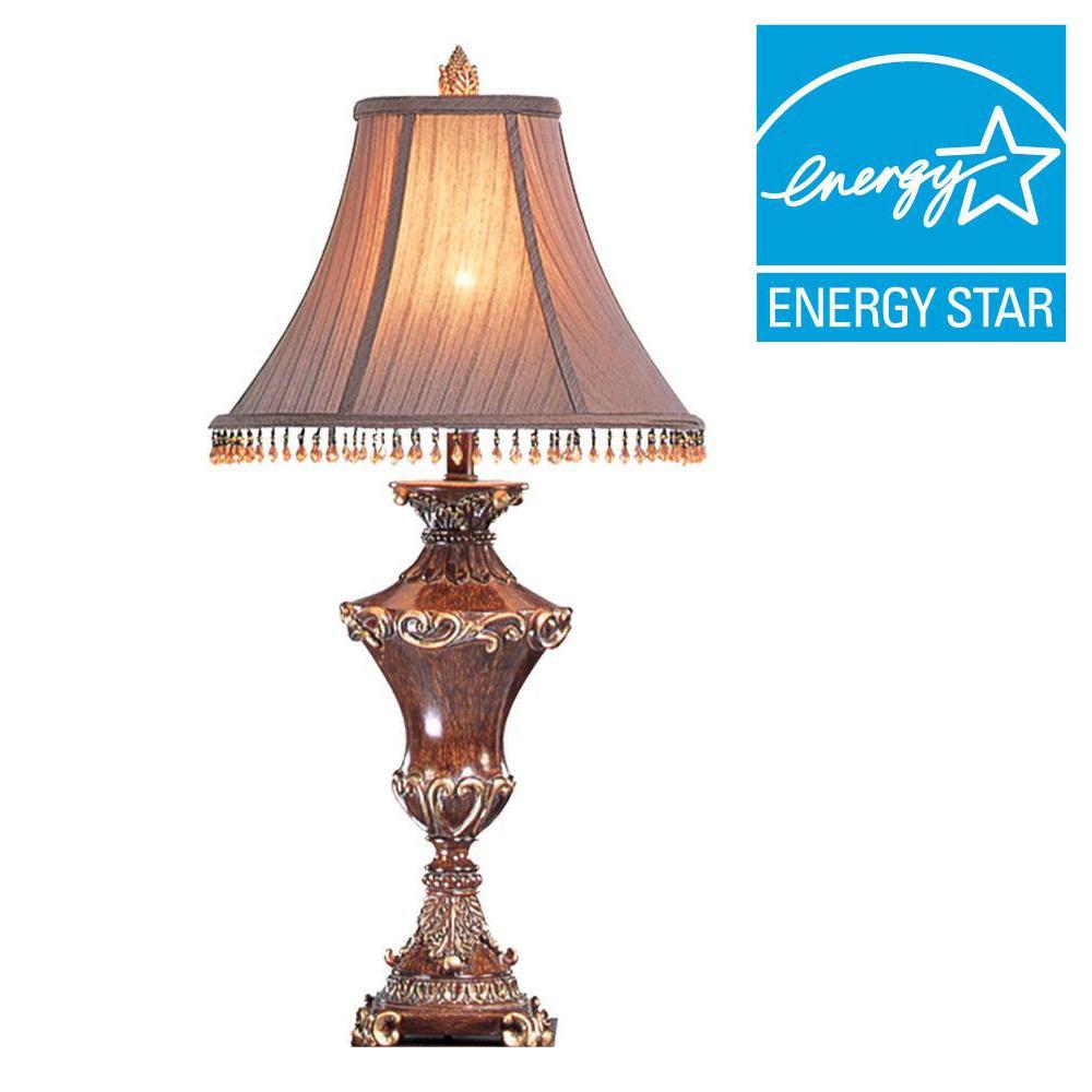 Bronze Resemble Wood Table Lamp