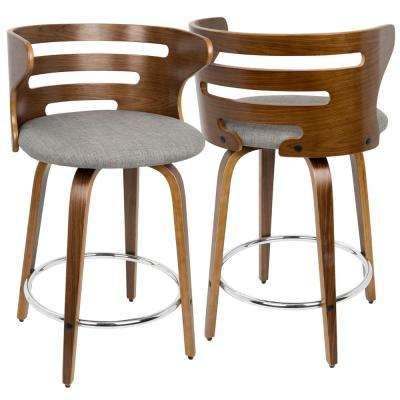Cosini Walnut and Grey Mid-Century Modern Counter Stool