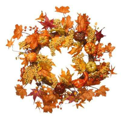 Harvest Accessories 24 in. Artificial Wreath with Maples and Pumpkins
