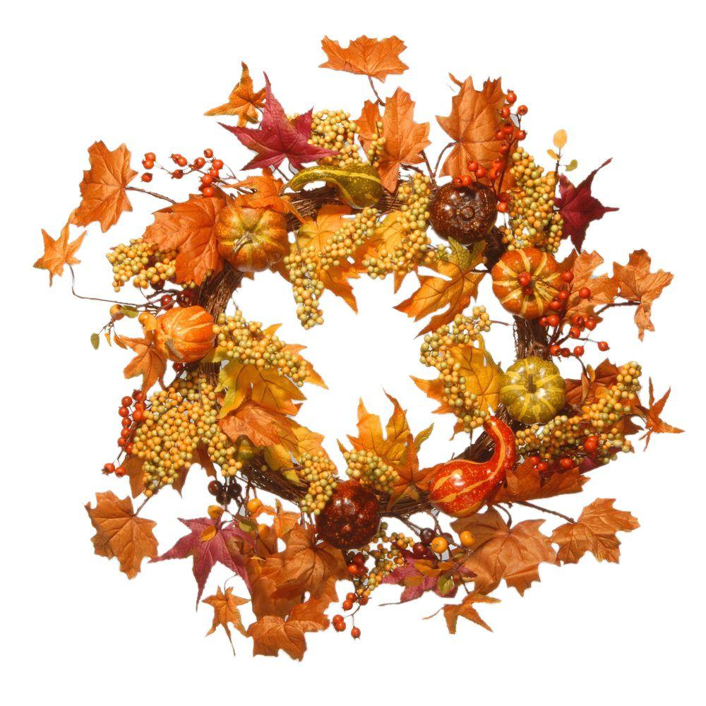 National Tree Company Harvest Accessories 24 in. Artificial Wreath with Maples and Pumpkins