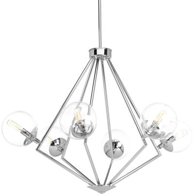 Mod Collection 6-Light Polished Chrome Chandelier with Clear Glass Shade