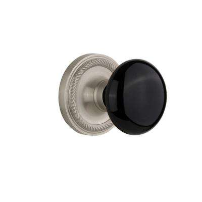 Rope Rosette 2-3/8 in. Backset Satin Nickel Passage Black Porcelain Door Knob