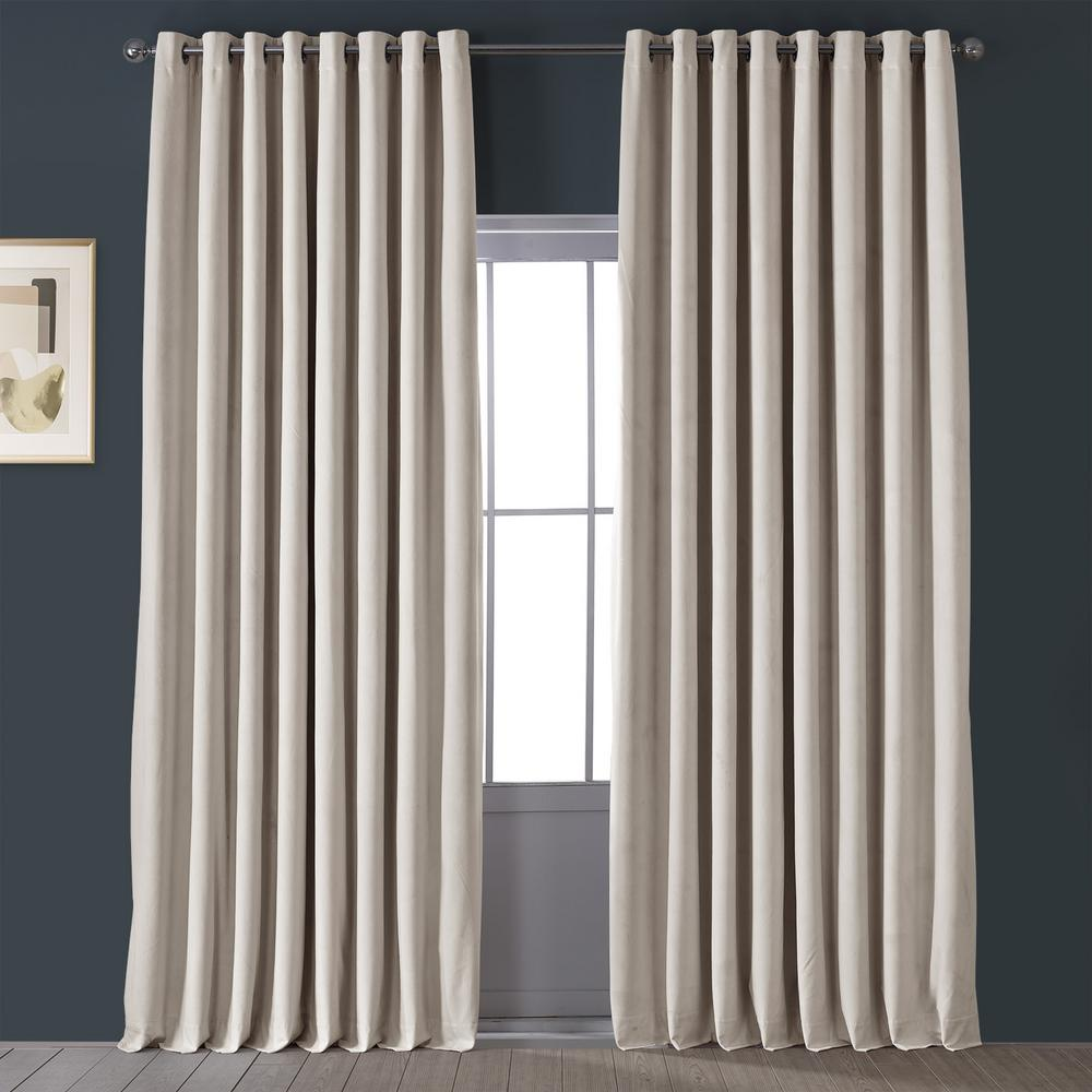 Exclusive Fabrics Furnishings Signature Ivory Doublewide Grommet Blackout Velvet Curtain 100 In W X 84 In L Vpch Vet1217 84 Gr The Home Depot