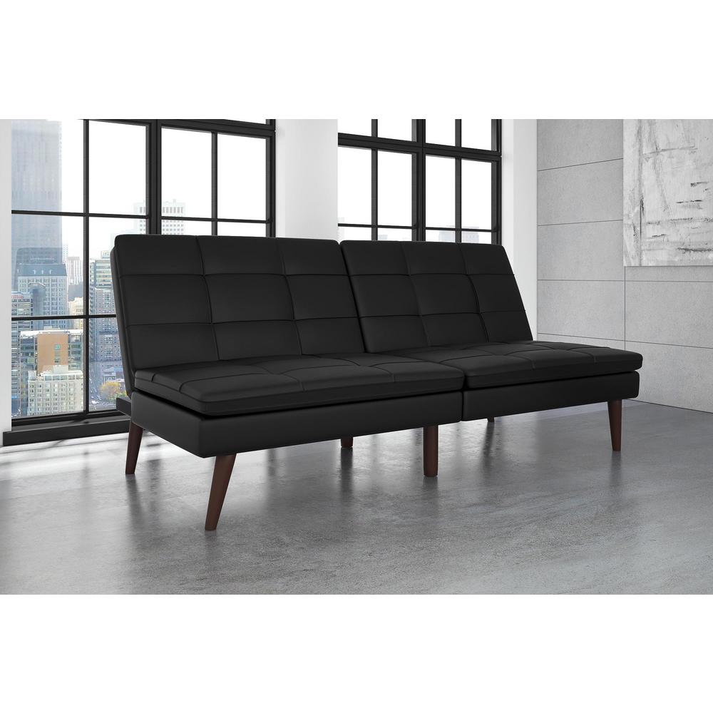 Premium Westbury Linen Pillowtop Twin Double Size Futon In Black Faux Leather