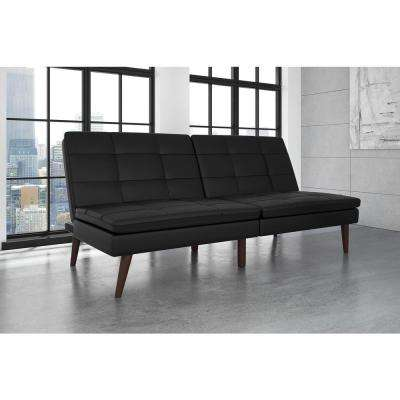 Wendy Black Faux Leather Pillow Top Futon