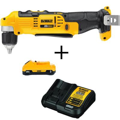 20-Volt MAX Li-Ion Cordless 3/8 in. Right Angle Drill (Tool-Only) with Bonus 20-Volt MAX Li-Ion Battery 3.0Ah & Charger