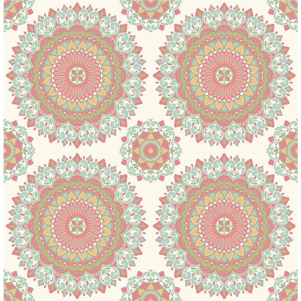 A Street Gemma Aqua Boho Medallion Wallpaper Sample 1014