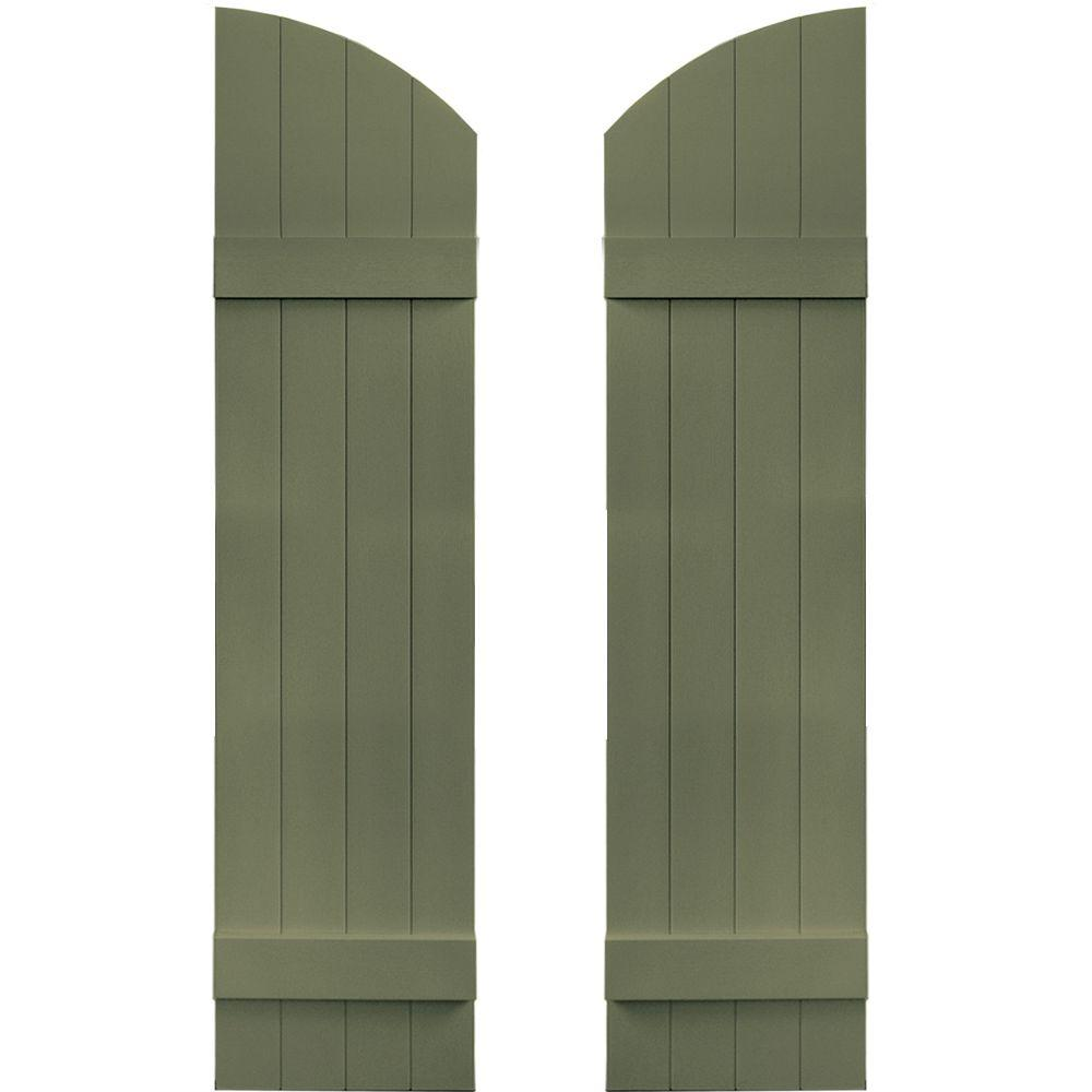 Builders Edge 14 in. x 53 in. Board-N-Batten Shutters Pair, 4 Boards Joined with Arch Top #282 Colonial Green
