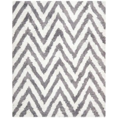Chevron Shag Ivory/Gray 10 ft. x 14 ft. Area Rug