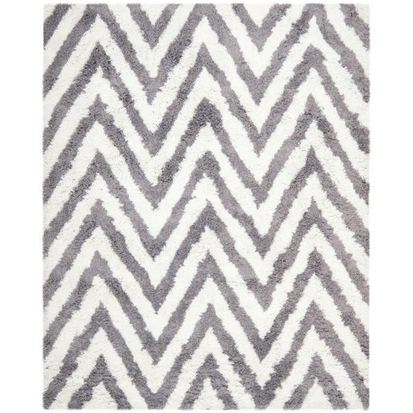 Chevron Shag Ivory/Gray 8 ft. x 10 ft. Area Rug