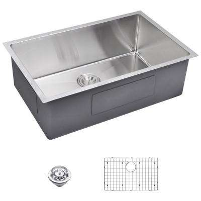 Undermount Small Radius Stainless Steel 30x19x10 0-Hole Single Bowl Kitchen Sink with Strainer and Grid in Satin Finish