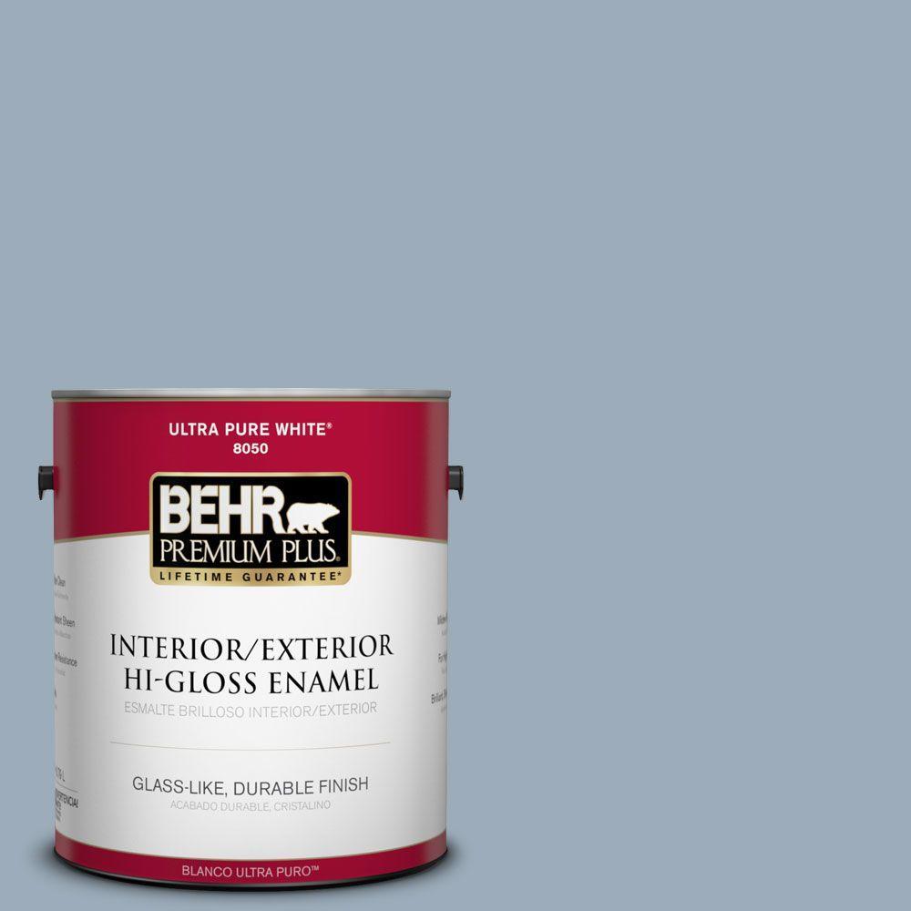 BEHR Premium Plus 1-gal. #570F-4 Blue Willow Hi-Gloss Enamel Interior/Exterior Paint