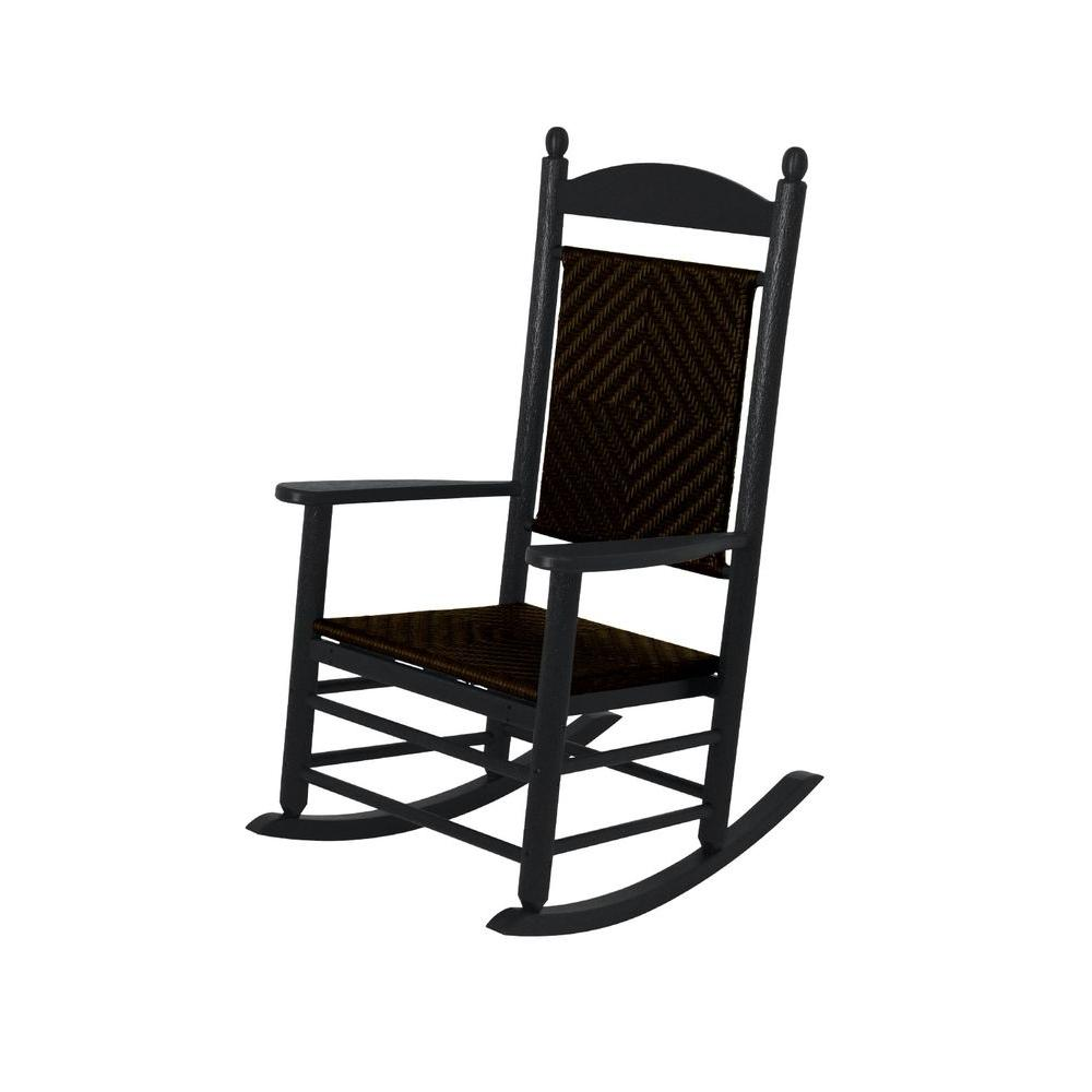 Beau Jefferson Black Woven Patio Rocker With Cahaba Weave