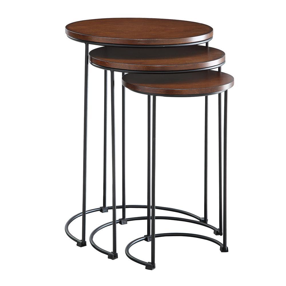 Carolina Cottage Mackintosh Chestnut And Black Round Nesting Table Set Of 3