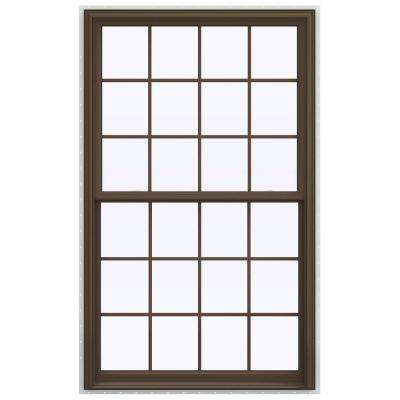43.5 in. x 71.5 in. V-2500 Series Brown Painted Vinyl Double Hung Window with Colonial Grids/Grilles