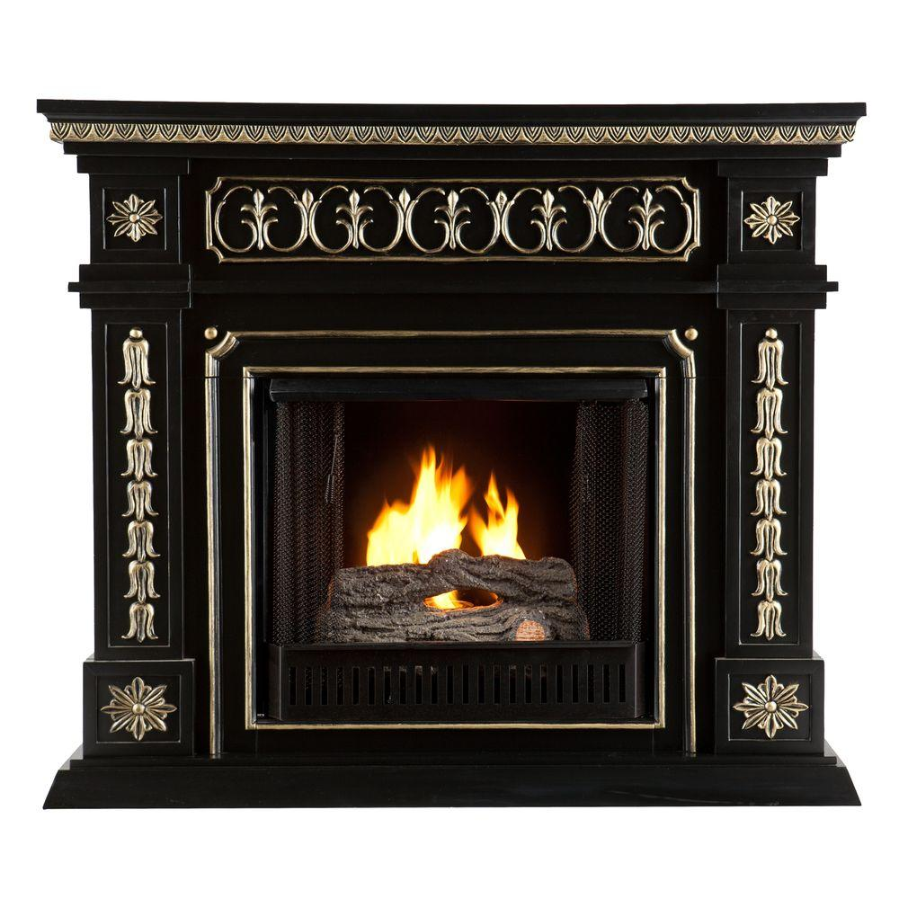 Southern Enterprises Donovan 47 in. Gel Fuel Fireplace in Black with Gold Accents