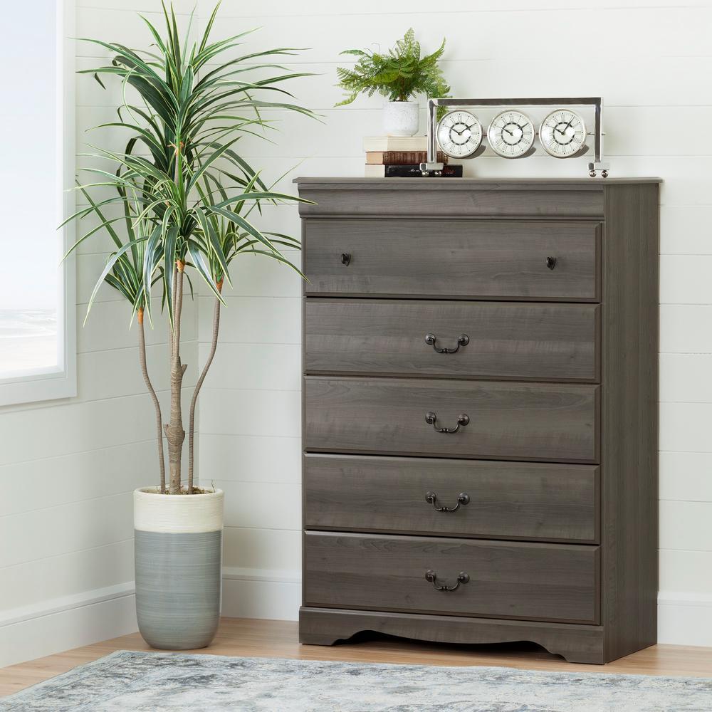 Vintage 5-Drawer Gray Maple Chest