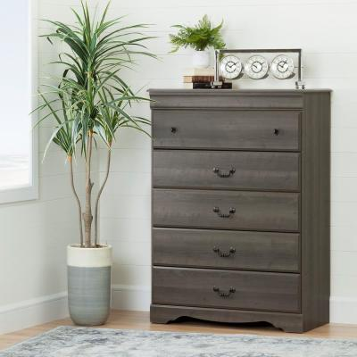 Vintage 5-Drawer Gray Maple Chest