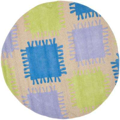 Kids Beige/Multi 6 ft. x 6 ft. Round Area Rug