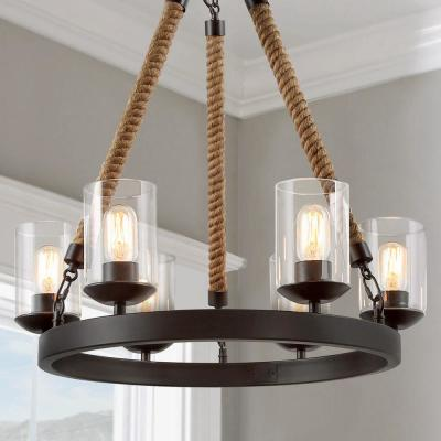 Versatile Farmhouse 6-Light Bronze Wagon Wheel Island Chandelier with Clear Glass Shades and Natural Ropes