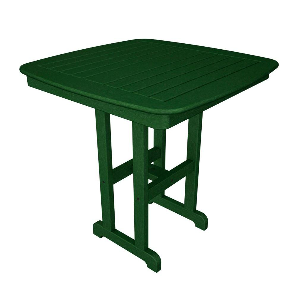 POLYWOOD Nautical 37 in. Green Plastic Outdoor Patio Counter Table