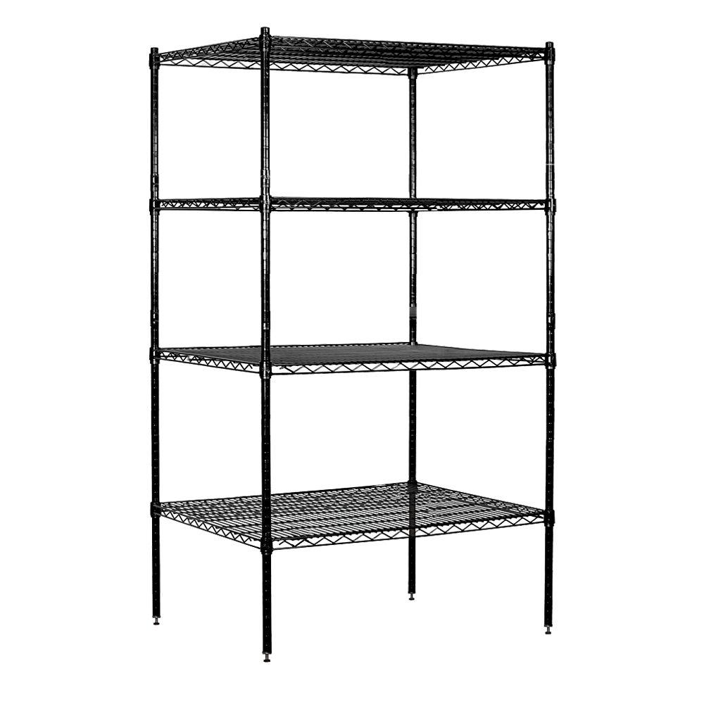 Salsbury Industries 9600S Series 36 in. W x 74 in. H x 24 in. D Industrial Grade Welded Wire Stationary Wire Shelving in Black
