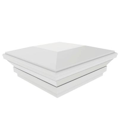 4 in. x 4 in. White Contemporary Post Cap with Glue