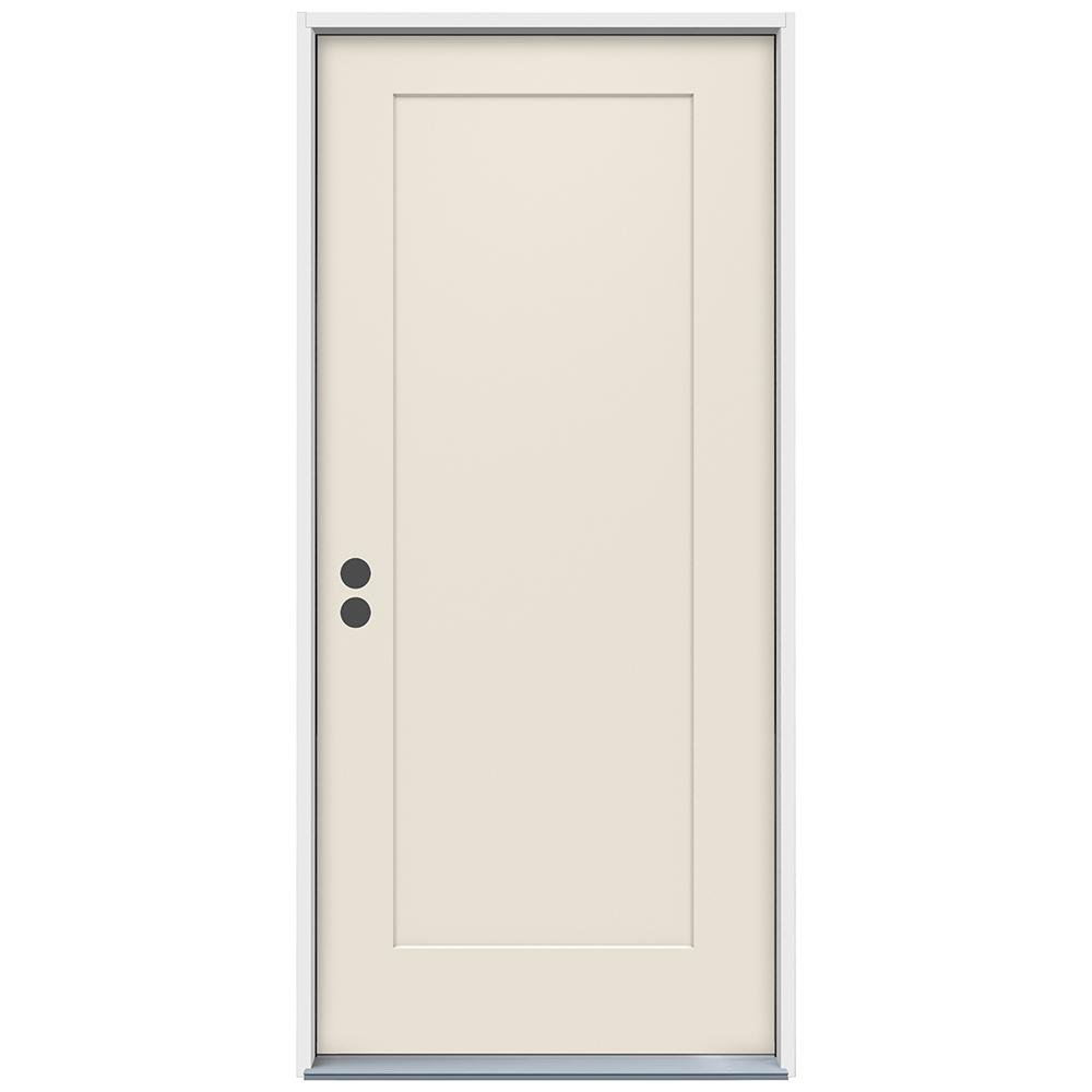 32 in. x 80 in. 1-Panel Craftsman Primed Steel Prehung Right-Hand