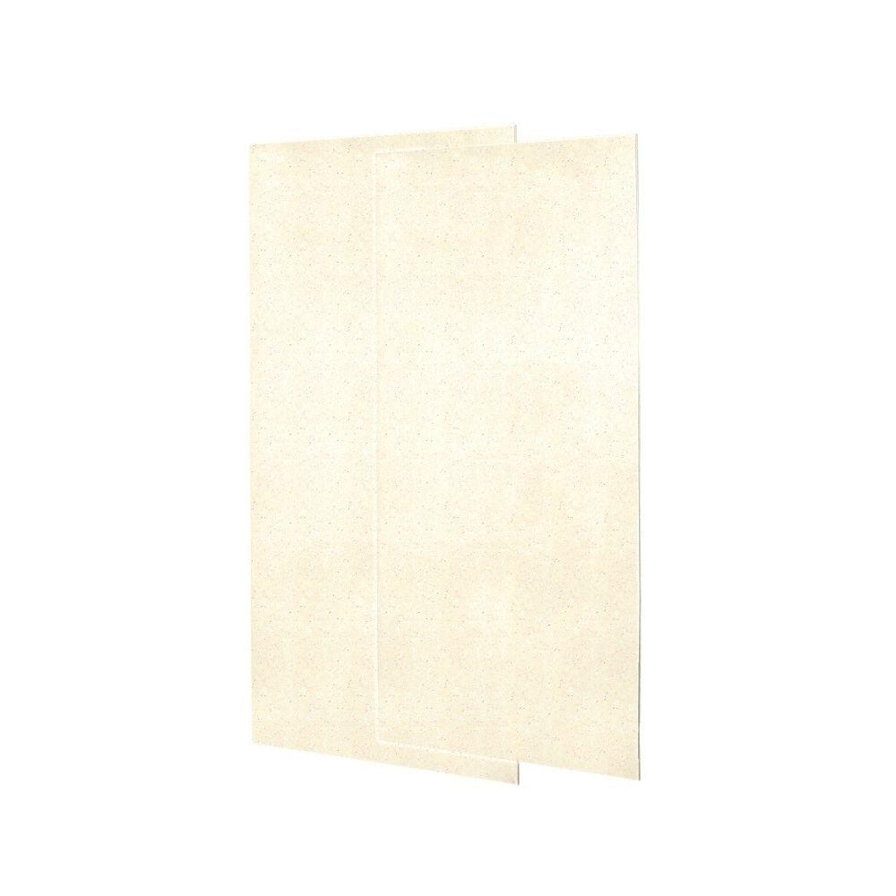 Swanstone 1/4 in. x 36 in. x 96 in. Two Piece Easy Up Adhesive Shower Wall Panels in Pebble-DISCONTINUED