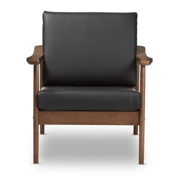 Baxton Studio Venza Black/''Walnut'' Brown Faux Leather Lounge Chair 28862-7552-HD