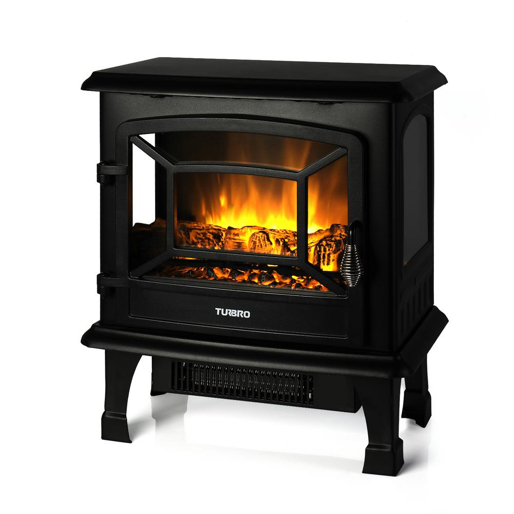 TURBRO TURBRO Suburbs TS20 17 in. Freestanding Electric Fireplace in Black