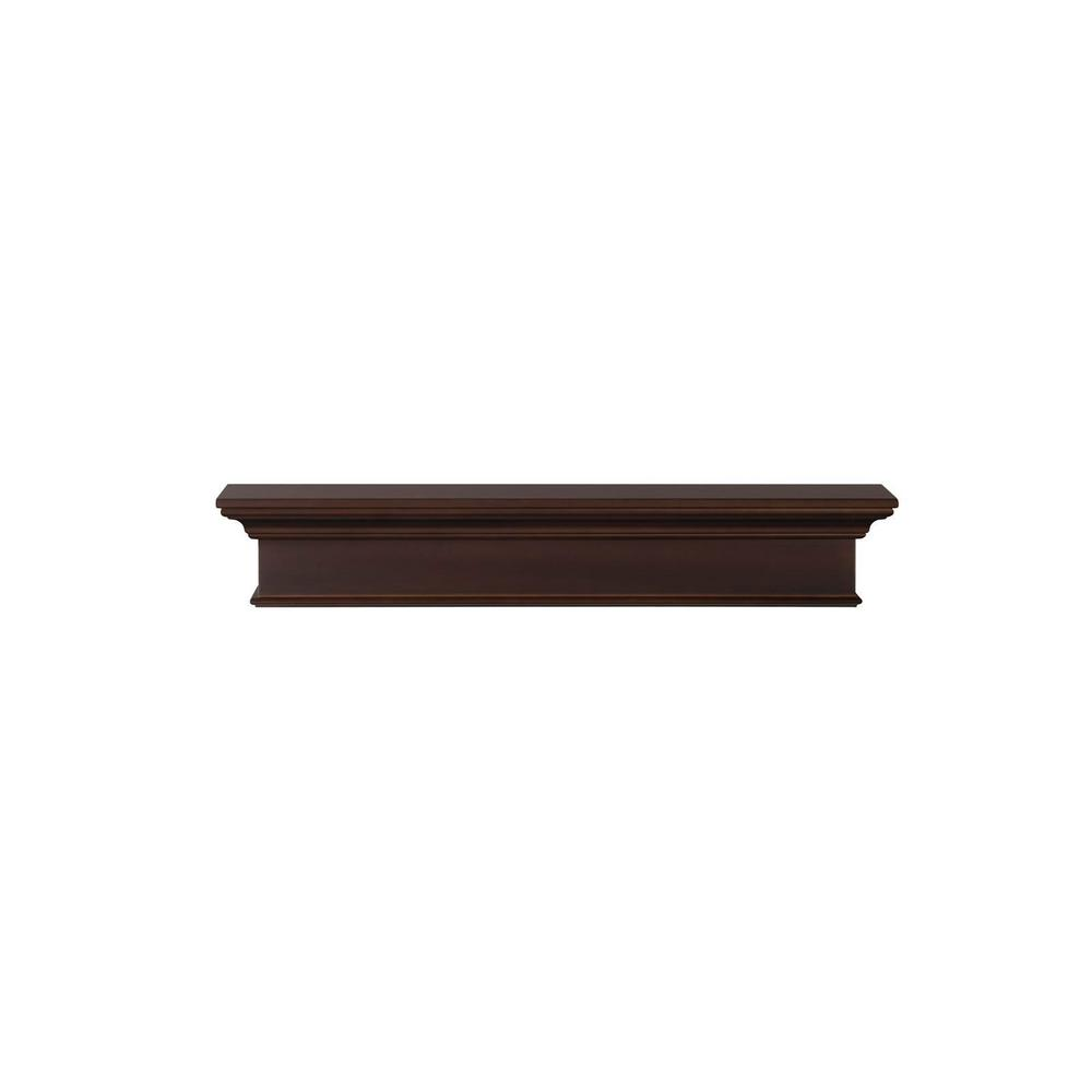 Henry 5 ft. Chocolate Brown Paint MDF Distressed Cap-Shelf Mantel