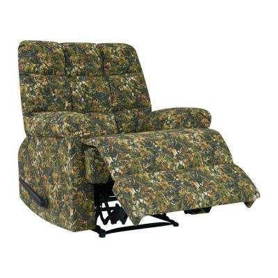 Wall Hugger Multi-Green Camouflage Reclining Chair with Biscuit Stitch Tufted Back