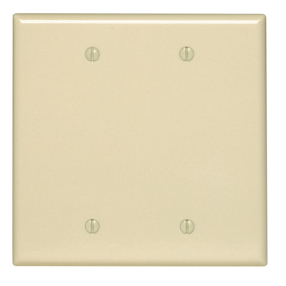 2-Gang No Device Blank Wallplate, Midway Size, Thermoset, Box Mount, Ivory