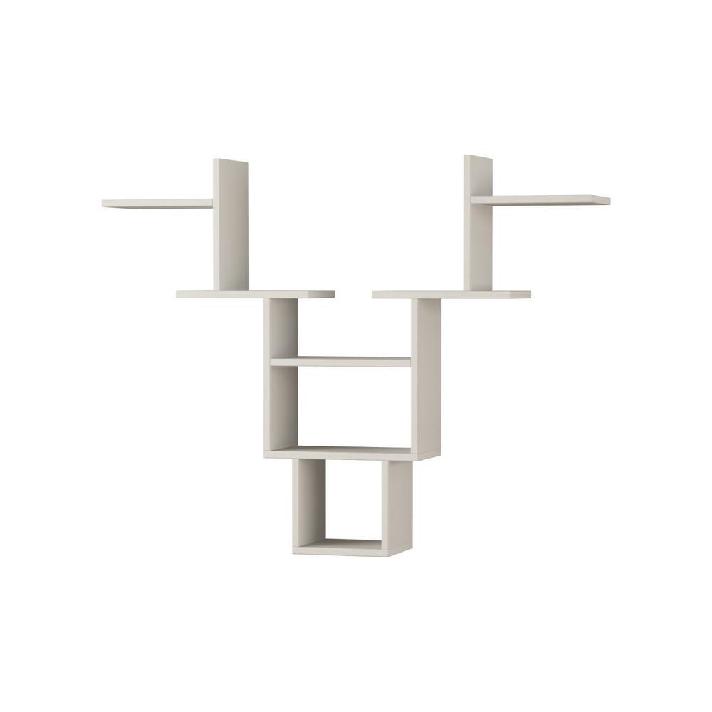 Ada Home Decor Whitetail White Mid-Century Modern Wall Shelf DCRW2061