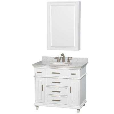 Berkeley 36 in. Vanity in White with Marble Vanity Top in White Carrara, Round Sink and Medicine Cabinet